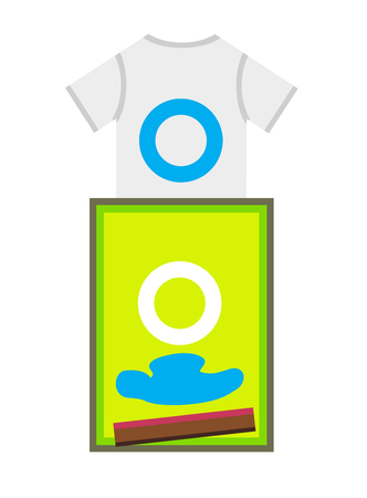 polygraph: Vector flat design of a t-shirt and print frame with spatula and cyan color - screen printing