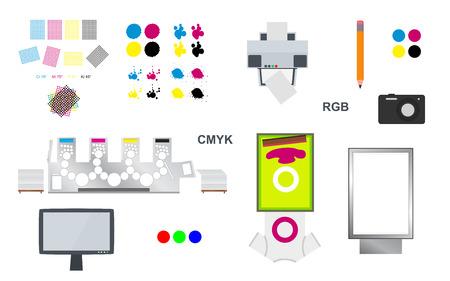 printshop: Print and web vector set - printing rosettes, printing machine and cmyk, lcd monitor, camera, citylight lightbox, pencil, desktop printer, screen printing on T-shirt and cmyk blots