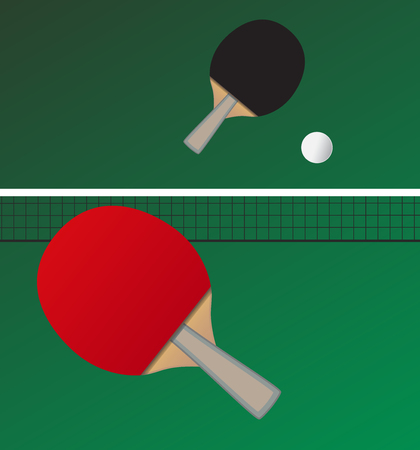Vector table tennis game - bats and ball - imaginary game between two players