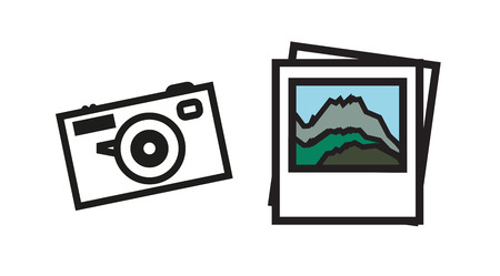Photo of mountains and camera in outline design - traveler set Stock Vector - 84855382