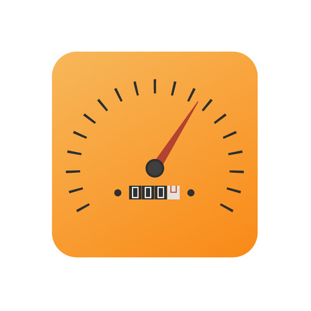 treadle: Vector button with speedometer in orange color - icon of the application