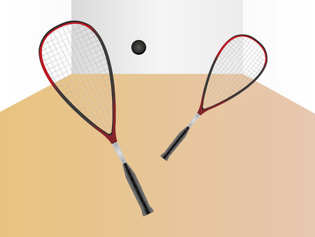 Squash game - imaginary game between two players - vector illustration Ilustração