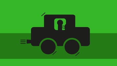 緑のパスに沿って車で運転  イラスト・ベクター素材