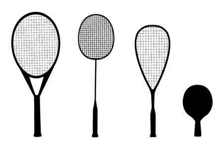 Silhouettes of racquet sports - rackets for tennis, table tennis, badminton and squash Vettoriali
