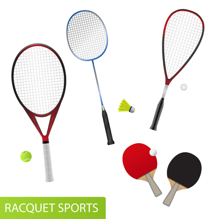Set of racquet sports - equipment for tennis, table tennis, badminton and squash - rackets and balls