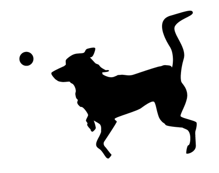 Playing dog silhouette on white background