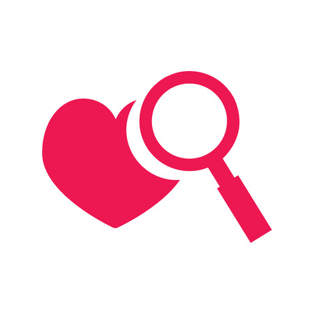 Pink simple icon of favorite website - heart and magnifier Illustration