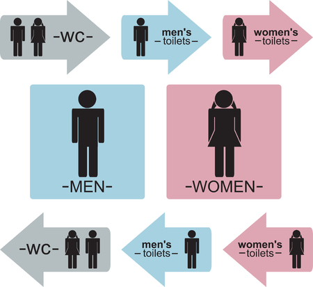 Mens and women's WC signs and indicators in three colors (Blue, Pink and Gray).