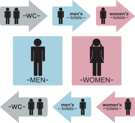 Rótulos e indicadores de WC para hombres y mujeres en tres colores (azul, rosa y gris).