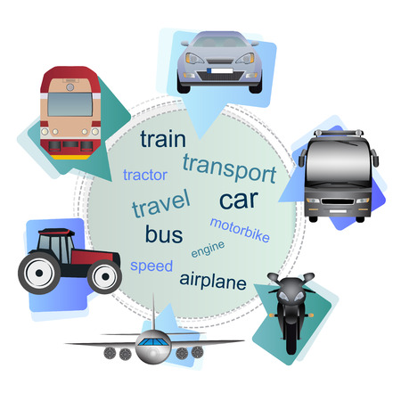 Many types of transport (vehicles) - car, bus, train, motorbike, airplane, tractor and train in bubbles. Vector transport theme.