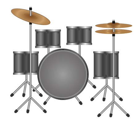 illustration of a gray drum kit isolated on white background  イラスト・ベクター素材