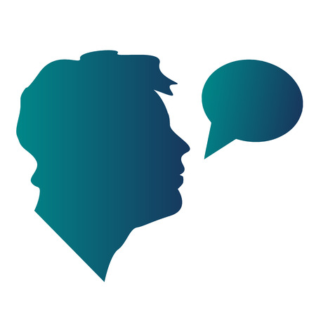 illustration of a man with speech bubble in blue color. Conversation or business talk. Ilustrace