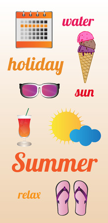 summer poster with calendar with free days, ice cream, sunglasses, drink, sun with cloud and flip-flops