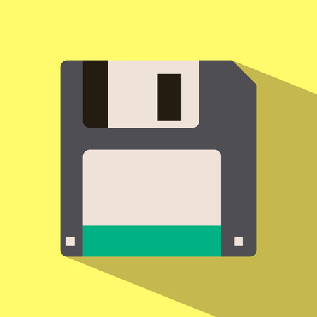 Icon of diskette isolated on a white background. Isolated on white background Illustration