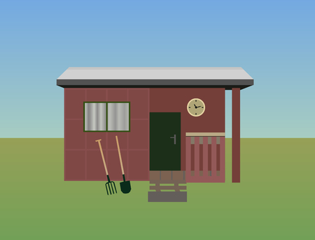 illustration of gardening. Cottage on meadow with sky