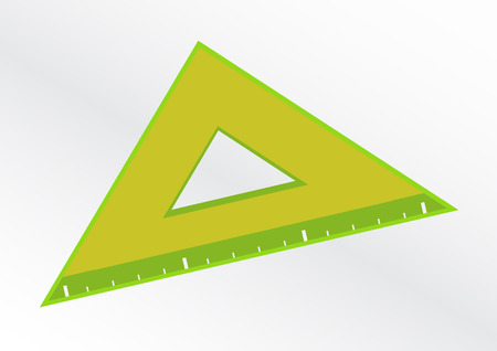 illustration of green ruler triangle icon. School design. Suitable to school for geometry or math.