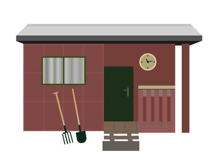 Vector old garden shed with tools - spade and shovel Stock Illustratie