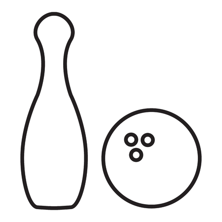 Outline bowling pins and bowling ball isolated on white background. Line icon. Illustration