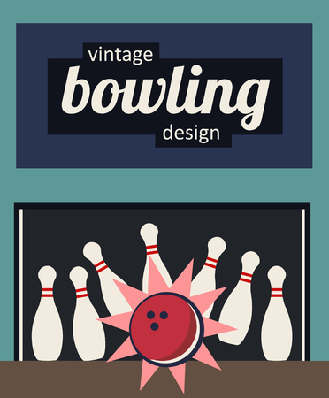 illustration of vintage retro bowling design - strike in the old fashioned colors. bowling skittles or pins and a bowling ball.