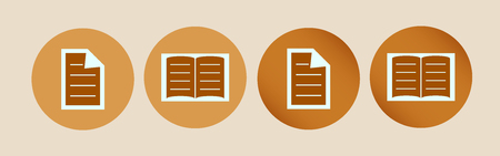two icons of copywriting, books, sheet or writings in both simple and complex versions