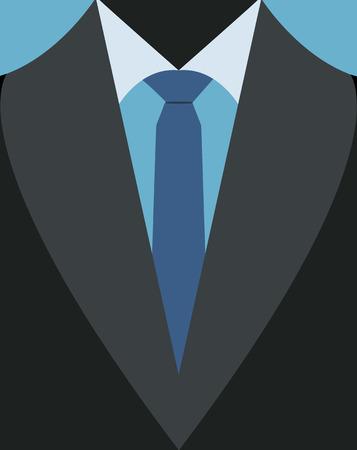 illustratie van casual pak met blauwe stropdas.