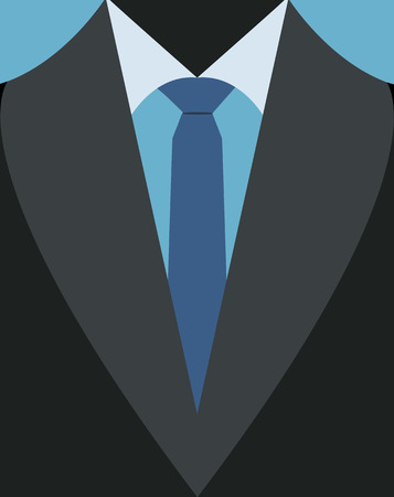 illustration of casual business suit with blue tie.