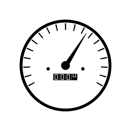 Simple speedometer gauges in black and white color isolated on white background. Characterization of speed or performance of a car, instrument, internet or service. Illustration