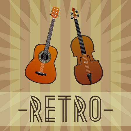 Vector guitar and violin on retro background with star and stripes and with retro text. Retro vector music for classical music. Ilustrace