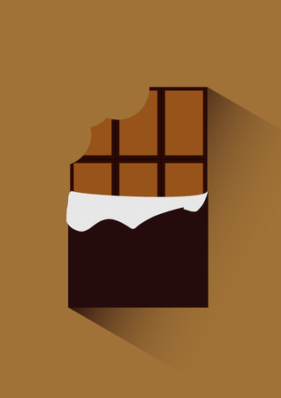 Vector flat icon illustration of unpacked bitten chocolate isolated on background with shadow