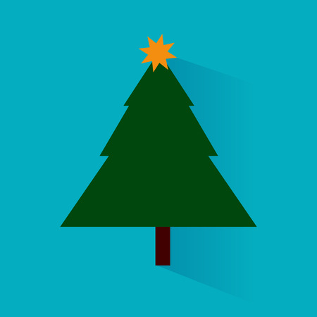 Vector illustration of a christmas tree with shadow Stock Illustratie