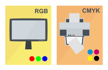 Vector RGB and CMYK concept with lcd screen monitor and office inkjet or laser printer in a flat style.