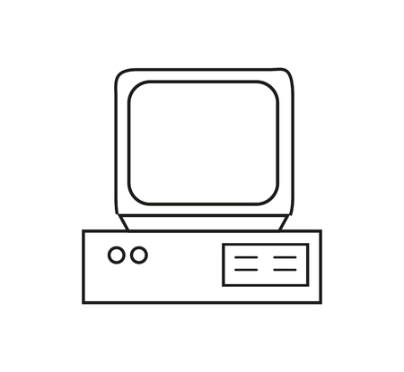 Retro old computer icon with CRT screen in the contours isolated on white background. 일러스트