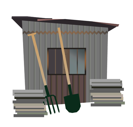 Vector old shed with tools (shovel and spade)