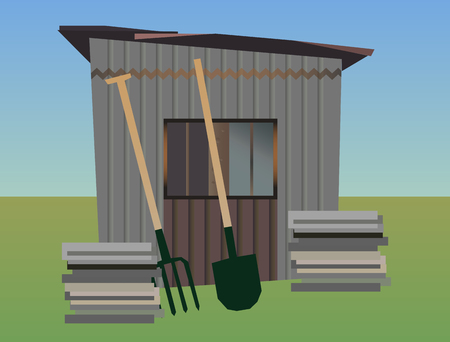 Vector illustration of gardening - old garden shed with farm tools - pitchfork and shovel on a grassy surface. Stock Vector - 106540558