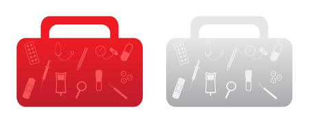First aid kit with set of medical and healthcare simple icons. Two versions of the first aid kit - red and gray. Ilustração