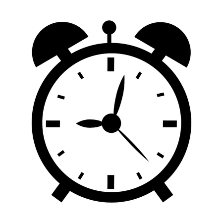 illustration of a black and white clock isolated on white background.