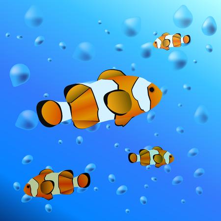 Acuario en el agua - ilustración de pez payaso Ilustración de vector
