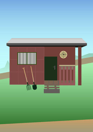 illustratie van tuinieren - oude tuinhuisje met boerderij tools - hooivork en schop op een met gras begroeide ondergrond.