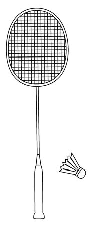 line icon of badminton racket and shuttlecock isolated on white background