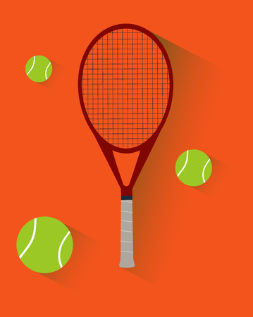 Tennis flat modern icon of tennis racket and tennis balls on the clay court. Orange background in clay style.