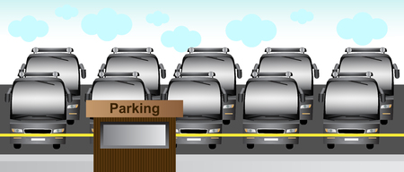 illustration of many buses in a paid and guarded parking lot.