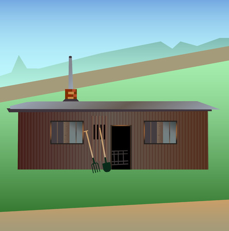 Vector illustration of gardening - old garden shed with farm tools - pitchfork and shovel on a grassy surface.