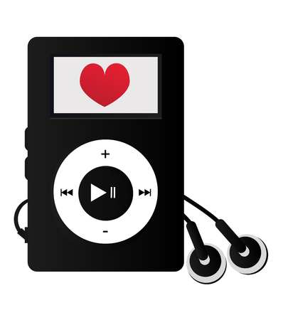 Mp3 player with heart - love listening to music