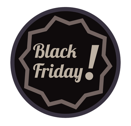 Black Friday sale vector sticker. Big sale with exclamation mark. Inscription in ornate circle.