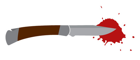 pocket knife with wooden handle and with blood