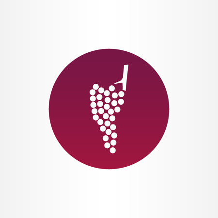 Vector icon   of modern wine grape icon in purple circle on white background.