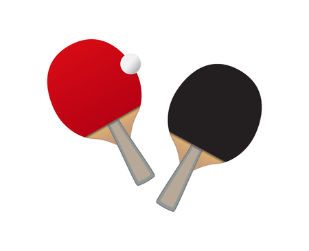 table tennis  - bats with red and black surface and ball isolated on white background.