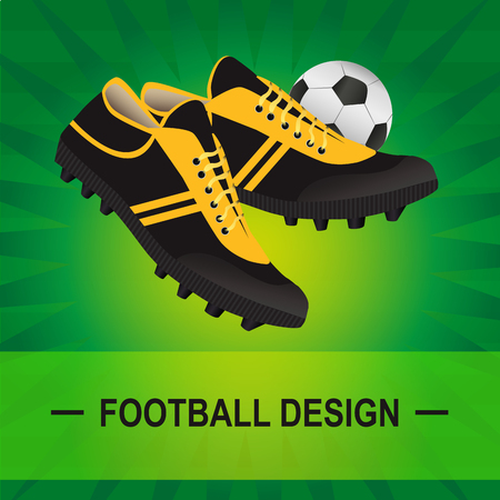 Vector soccer illustration of turf with football boots and ball on green background, showing the lawn. Illustration