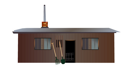 Vector old wooden garden with a chimney and tools (spade and shovel) isolated on white background. Big cottage.