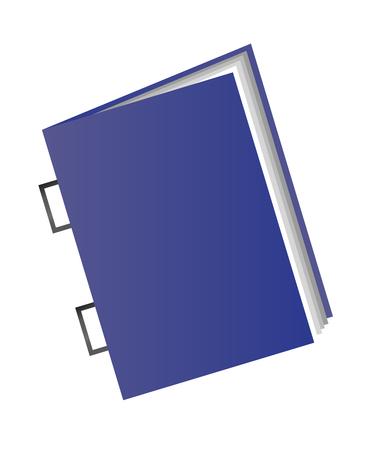 Illustrazione vettoriale di un punto a sella isolato su priorità bassa bianca. Icona di una rivista o di un libro con copertina blu. Vettoriali